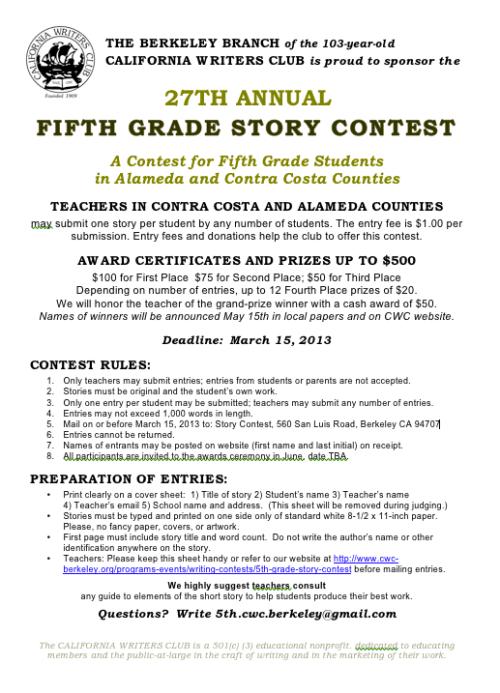 5th Grade Story Contest 2013
